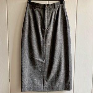 Ralph Lauren Vintage Wool Midi Skirt Marled Grey